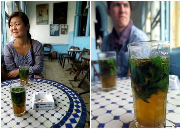 Drinking mint tea inside Baba Cafe