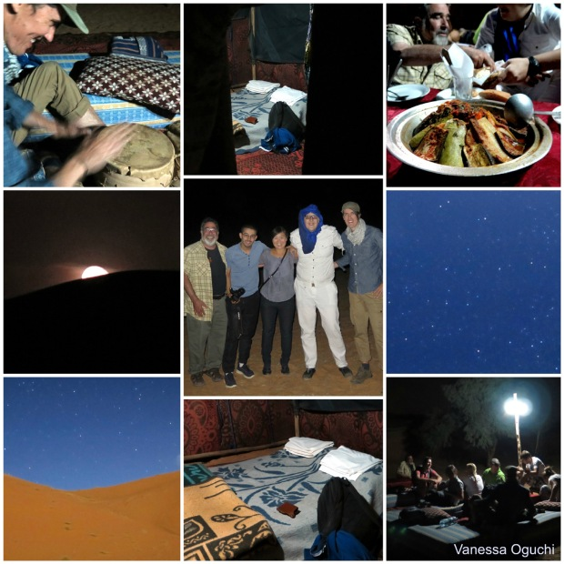 Our sleeping arrangement, the huge tagine, me and the boys