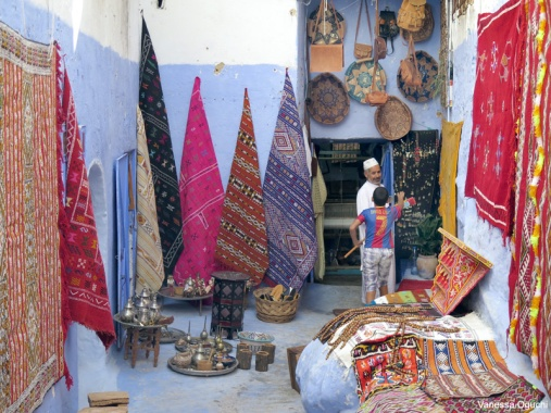Local souvenir store in Chefchaouen, Morocco