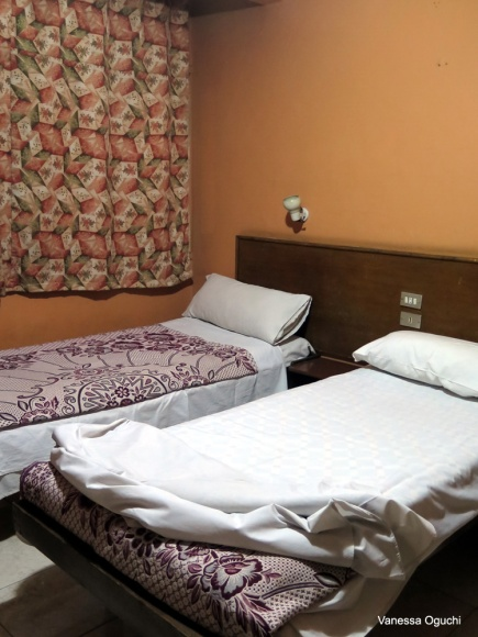 Our room at Memnon Hotel.  Rooms at the back are not so noisy!