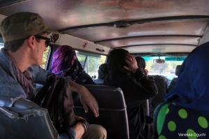 Greg in the local shuttle van.