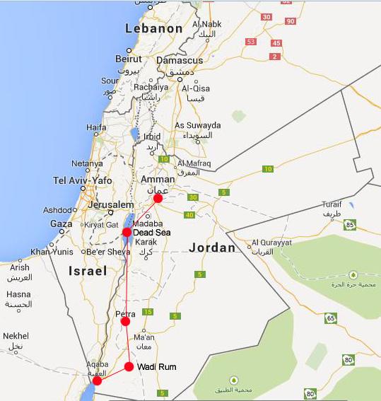 Tourist route for Jordan