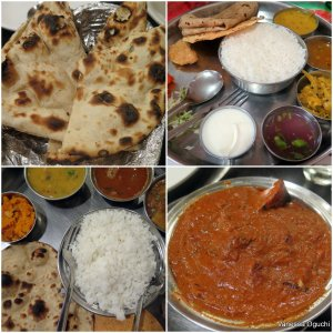 A vegetarian dream: The various curries in a vegetarian thali.