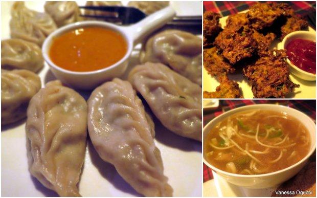Yummy momos, vegetable pakoras, and thukpa noodle soup at Peter Bar.