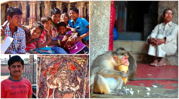 Boys selling postcards at the temple, and a monkey eating.
