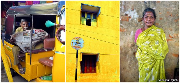 Rickshaw driver, a colorful building, a woman