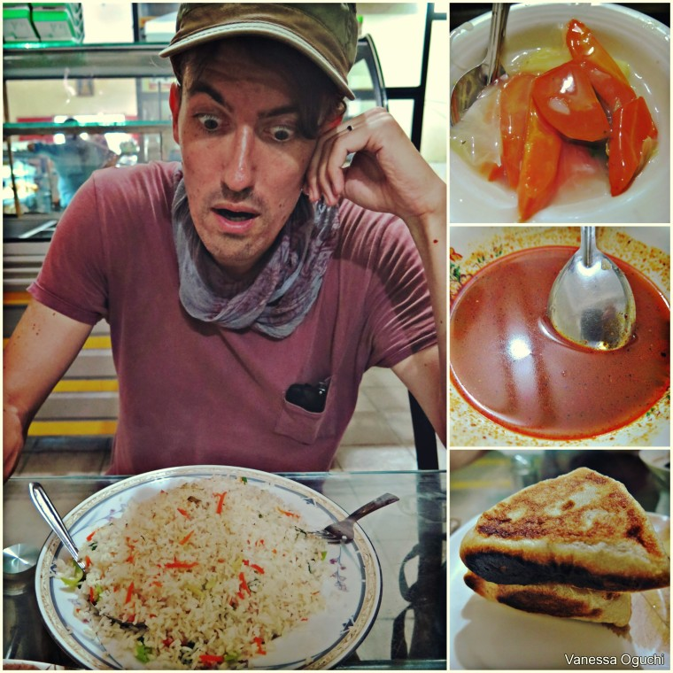 The fried rice was way bigger than it looks! Bottom right: My fave short snack!  The triangular veggie samosa-like delicious pockets that are sold everywhere!